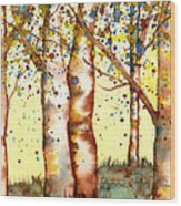 Birch Trees Wood Print by Diane Ferron