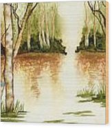 Birch Trees On The Lake Wood Print