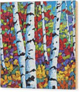 Birches In Abstract By Prankearts Wood Print by Richard T Pranke