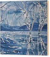 Birches In Blue Wood Print