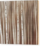 Birches In Motion Wood Print