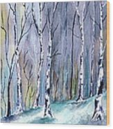 Birches In The Forest Wood Print