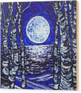 Birches With Shining Water Wood Print