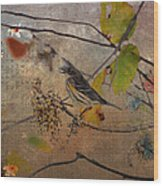Bird And Berries Wood Print