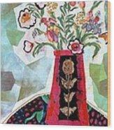Bird Blossom Vase Wood Print by Diane Fine