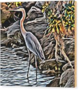 Bird By The Water Wood Print