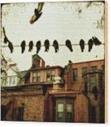 Bird Cityscape Wood Print