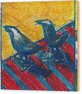 Bird Collage Wood Print