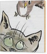 Bird Wood Print by Ellen Miffitt