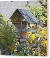 Bird Feeder Amongest The Grapevines Wood Print