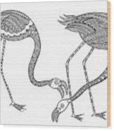 Bird Flamingos 2 Wood Print