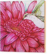 Bird In Bloom Wood Print
