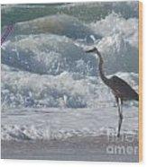 Bird In Surf Wood Print