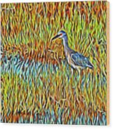 Bird In The Reeds Wood Print