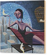 Bird Lady Wood Print by Ned Shuchter