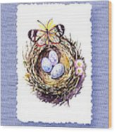 Bird Nest With Daisies Eggs And Butterfly Wood Print