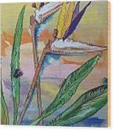 Bird Of Paradise Wood Print by Karen Carnow