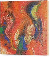 Bird Of Paradise Orange Red Modern Abstract By Chakramoon Wood Print