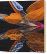 Bird Of Paradise Reflective Pool Wood Print
