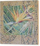 Bird Of Paradise With Tapa Cloth Wood Print