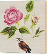 Bird On A Flower Wood Print