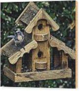 Bird On A House Wood Print