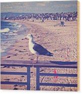 Bird On A Rail Wood Print