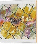 Bird On Chain Wood Print