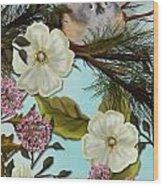 Bird On Pine Branch Wood Print