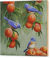Bird Painting - Bluebirds And Peaches Wood Print