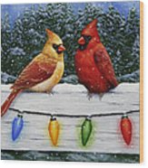 Bird Painting - Christmas Cardinals Wood Print by Crista Forest
