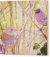 Bird Pair Wood Print by Linda Vaughon