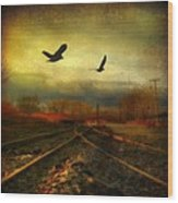 Country Bird Rail Wood Print