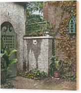 Birdhouse And Gate Wood Print