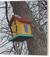 Birdhouse Of Color Wood Print by Margaret McDermott