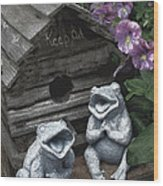 Birdhouse With Frogs Wood Print