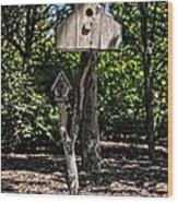 Birdhouses In The Trees Wood Print
