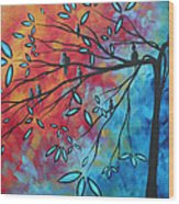 Birds And Blossoms By Madart Wood Print