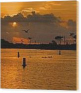 Birds And Bouys Sunrise Wood Print
