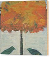 Birds And Maple Wood Print