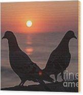 Birds At Sunrise Wood Print by Nelson Watkins