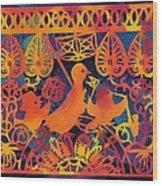 Birds Carnival Wood Print by Nekoda  Singer