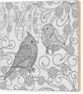 Birds Coloring Page. Animals. Hand Wood Print