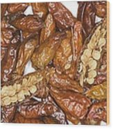 Bird's Eye Chilli Peppers Wood Print by Power And Syred