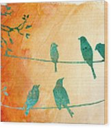 Birds Gathered On Wires-5 Wood Print