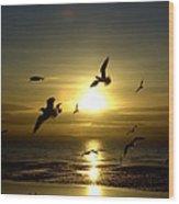 Birds Gathering At Sunset Wood Print