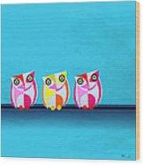 Birds In Blue  Wood Print