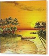 Birds In Flight Above A Golden Sunset Wood Print