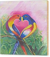 Birds In Love 02 Wood Print