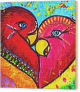 Birds In Love Pop Art Wood Print